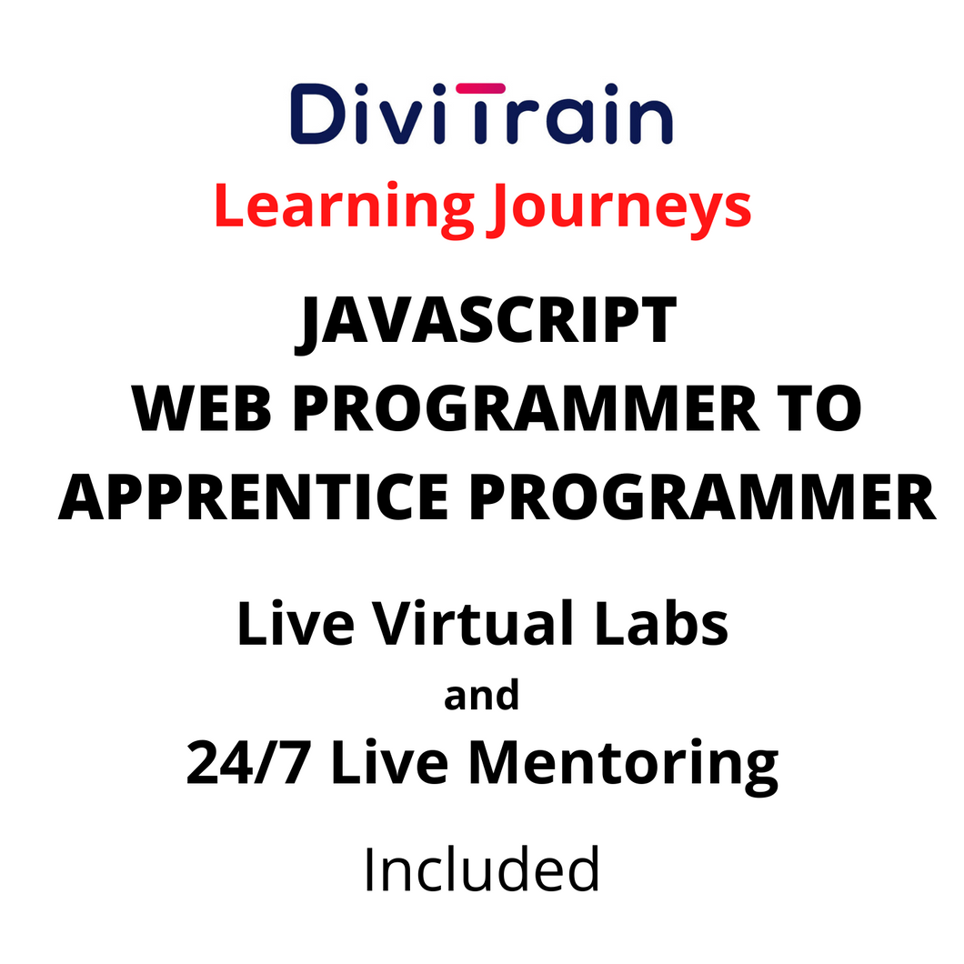 JAVASCRIPT - Web Programmer To Apprentice Programmer | 4 Tracks | 24/7 Live Mentoring and 24/7 Labs Included | Practice tests | 365 Days Access