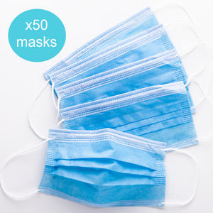 3 Ply Protective Disposable Face Mask (50 Pack) - Delivered