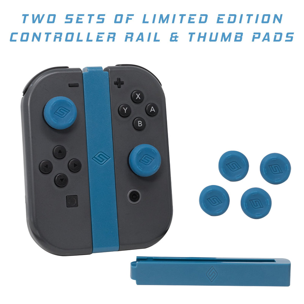 JoyCon Rail keeps JoyCons organized and rubberized Thumb Pads protect joy sticks