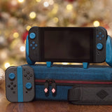 Satisfye's Limited Edition Holiday Bundle in Frost Blue includes Switch Grip, Hardshell Case, JoyCon Rail, Shoulder Strap and Cable