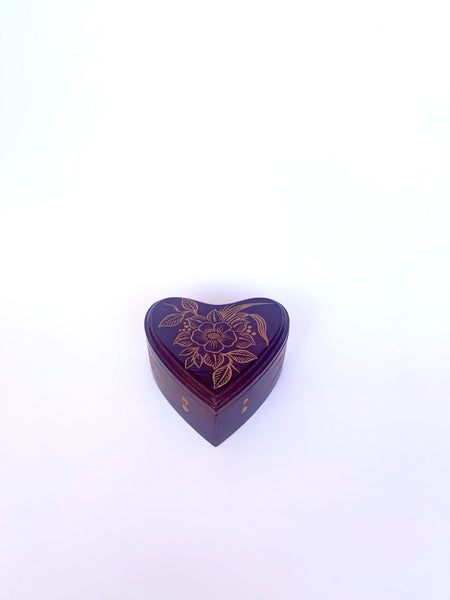 Floral Carved, Wooden Heart-Shaped Box