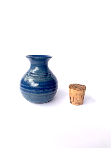 Tiny Blue Pot with Cork and Incense Hole!