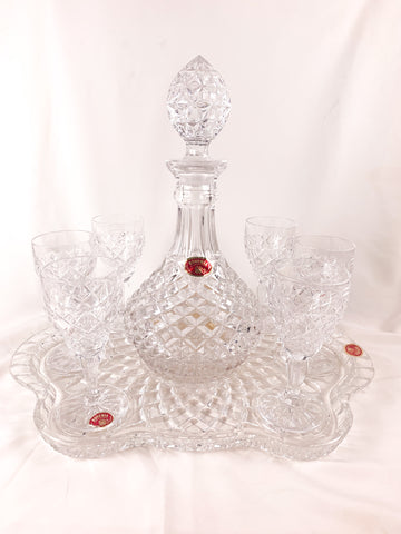Bohemia Crystal Vintage Decanter, Sherry Glasses (6) and Tray