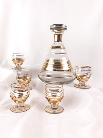 Vintage, Golden Decanter and Shot Glass set