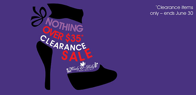 Photo: Purple banner with picture of ankle boots and text: Nothing over $35. Clearance sale - ends June 30.'