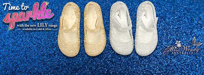 Photo: 2 pairs of gold and silver shoes with ankle straps and text 'Time to sparkle with the new Lily range in gold and silver'.