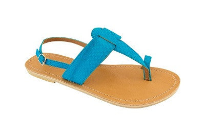Lanni – Aqua Blue Leather Sandals – Ladies T Bar Sandals
