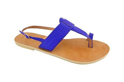 Lanni – Electric Blue Leather Sandals – Ladies T Bar Sandals