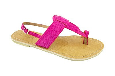 Lanni – Pink Leather Sandals – Ladies T Bar Sandals