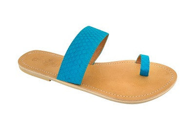 Cassi – Aqua Blue Leather Sandals