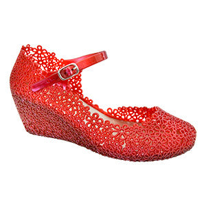 Lil Wendy–Red Wedges- Mary Jane-Children's Jelly Shoes