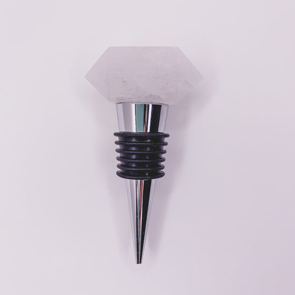 Clear Quartz Bottle Stopper Silver