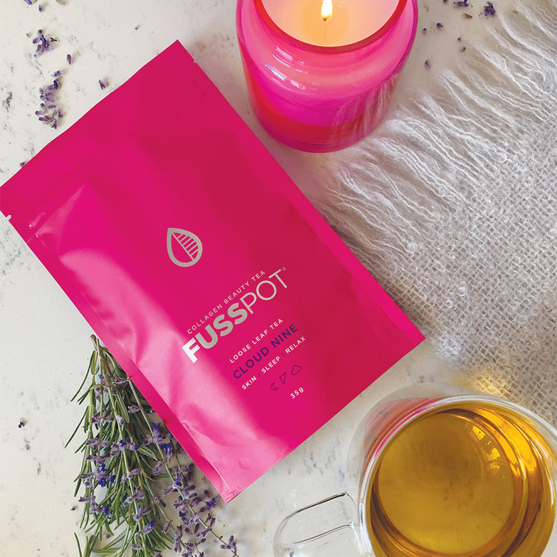 Fusspot Collagen Beauty Tea sleepytime tea with hydrolyzed collagen peptides as a beauty tea to support skin, hair and nails, anti-ageing, reduce wrinkles. Hot pink packaging. Beauty Product. Beauty Tea with collagen peptides, Herbal Tea to assist a good nights sleep. beauty sleep tea