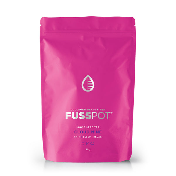 Fusspot Collagen Beauty Tea sleepytime tea with hydrolyzed collagen peptides as a beauty tea to support skin, hair and nails, anti-ageing, reduce wrinkles.  Hot pink packaging. Beauty Product. Beauty Tea with collagen peptides,  Herbal Tea to assist a good nights sleep. beauty sleep tea.