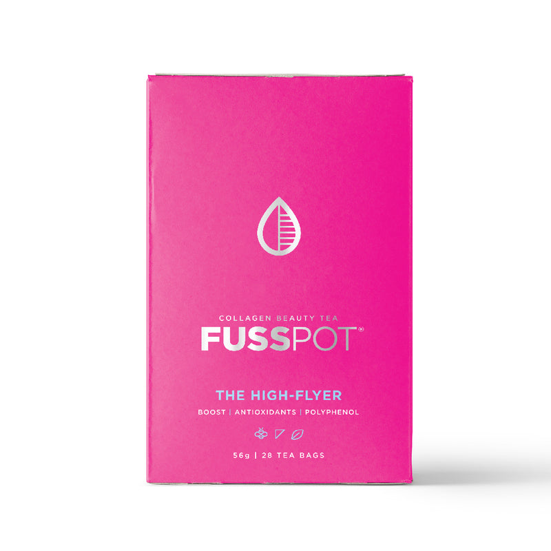 Fusspot Collagen Beauty Tea, a beauty tea with hydrolyzed collagen peptides as a beauty tea to support skin, hair and nails, anti-ageing, reduce wrinkles. Hot pink packaging. Beauty Product. Beauty Tea with collagen peptides, English Breakfast Black Tea... biodegradable compostable enviro-friendly teabags. soilon pyramid teabags