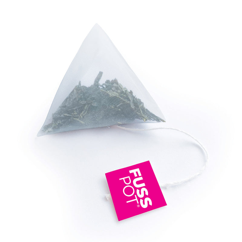 Fusspot Collagen Beauty Tea, a beauty tea with hydrolyzed collagen peptides as a beauty tea to support skin, hair and nails, anti-ageing, reduce wrinkles. Hot pink packaging. Beauty Product. Beauty Tea with collagen peptides, Green Tea... biodegradable compostable enviro-friendly teabags. soilon pyramid teabags.