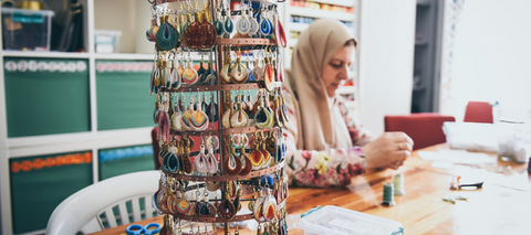 'Drop Earrings Not Bombs' is a series of handmade thread earrings, made by Syrian female refugee in Istanbul. Each pair you buy helps them support their family and rebuild a life in new society | The Ganapati Store