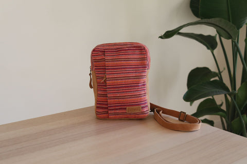 WOVEN Chest Crossbody Bag - Red by Ganapati Crafts Co.
