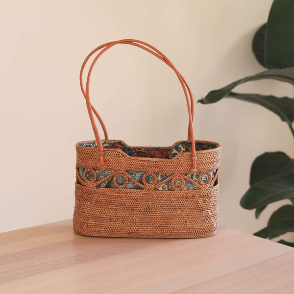 Bali Rattan Circle Decor Clutch Premium Quality Unique Handmade Gifts And Accessories - Ganapati Crafts Co