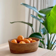 Load image into Gallery viewer, Bali Rattan Oval Fruit Bowl Premium Quality Unique Handmade Gifts And Accessories - Ganapati Crafts Co