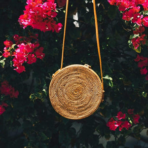 Bali Round Rattan Bag Premium Quality Unique Handmade Gifts And Accessories - Ganapati Crafts Co