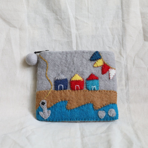 Brighton beach wool felt coin purse Premium Quality Unique Handmade Gifts And Accessories - Ganapati Crafts Co