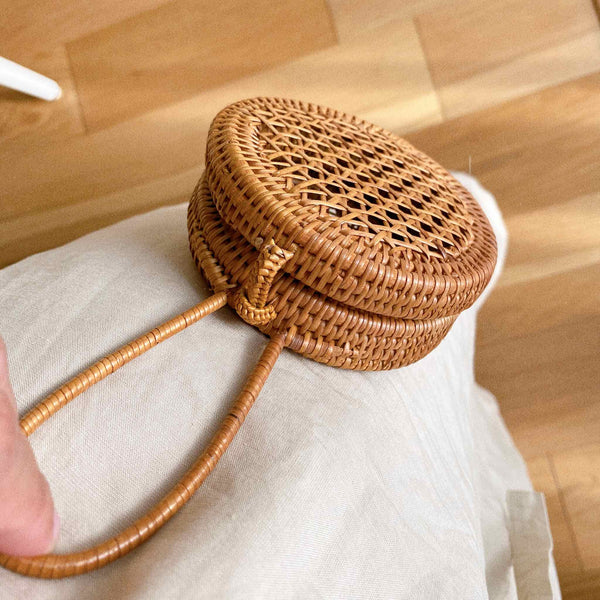 Decorative Rattan Circle Coin Purse Premium Quality Unique Handmade Gifts And Accessories - Ganapati Crafts Co
