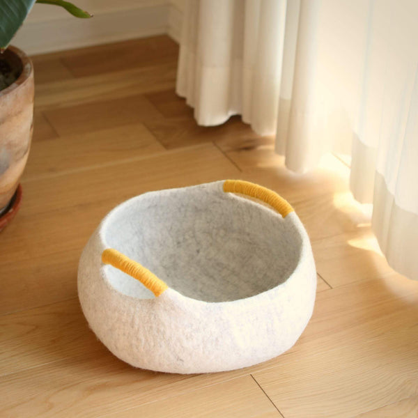 Felt Cat Cave With Handle - Storage Basket Premium Quality Unique Handmade Gifts And Accessories - Ganapati Crafts Co