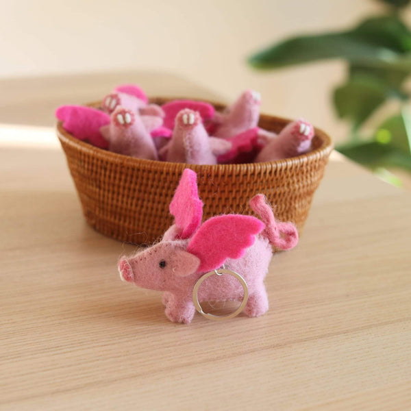 Felt Flying Pig Keyring Premium Quality Unique Handmade Gifts And Accessories - Ganapati Crafts Co