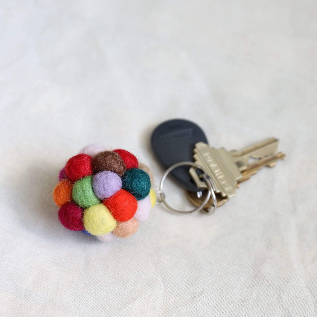 Felt pompom key chain Premium Quality Unique Handmade Gifts And Accessories - Ganapati Crafts Co