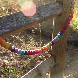 Felt Rainbow Pompom Garland Premium Quality Unique Handmade Gifts And Accessories - Ganapati Crafts Co