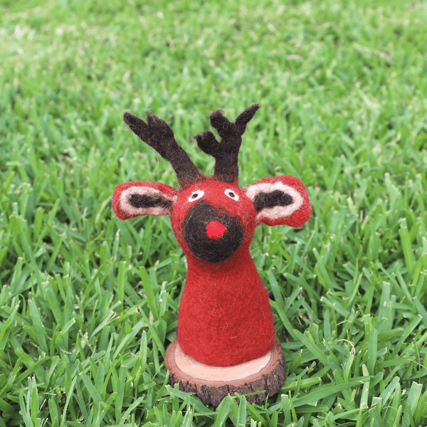Felt Red Reindeer Wine Topper Premium Quality Unique Handmade Gifts And Accessories - Ganapati Crafts Co
