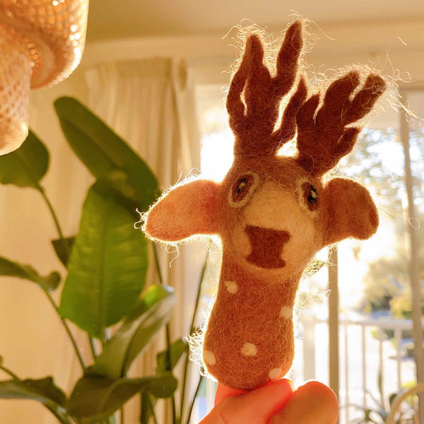 Felt Reindeer Finger Puppet Premium Quality Unique Handmade Gifts And Accessories - Ganapati Crafts Co