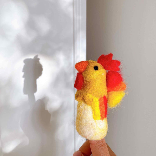 Felt Rooster Finger Puppet Premium Quality Unique Handmade Gifts And Accessories - Ganapati Crafts Co