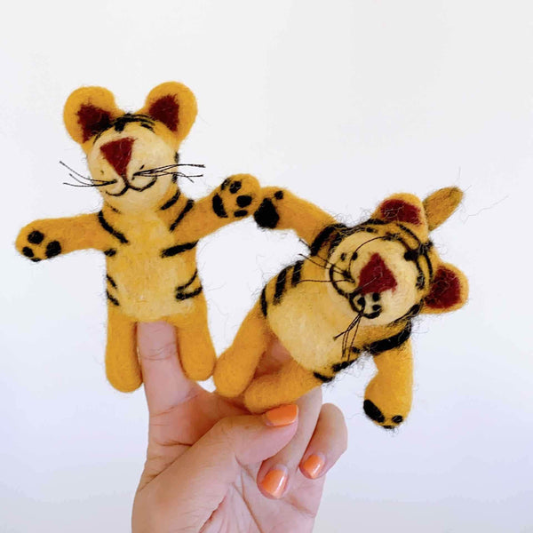 Felt Tiger Finger Puppet Premium Quality Unique Handmade Gifts And Accessories - Ganapati Crafts Co