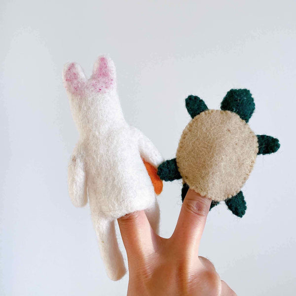 Felt Turtle And Rabbit Finger Puppet Set Premium Quality Unique Handmade Gifts And Accessories - Ganapati Crafts Co