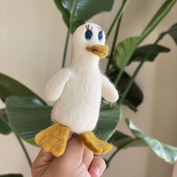 Lady Duck Finger Puppet Premium Quality Unique Handmade Gifts And Accessories - Ganapati Crafts Co