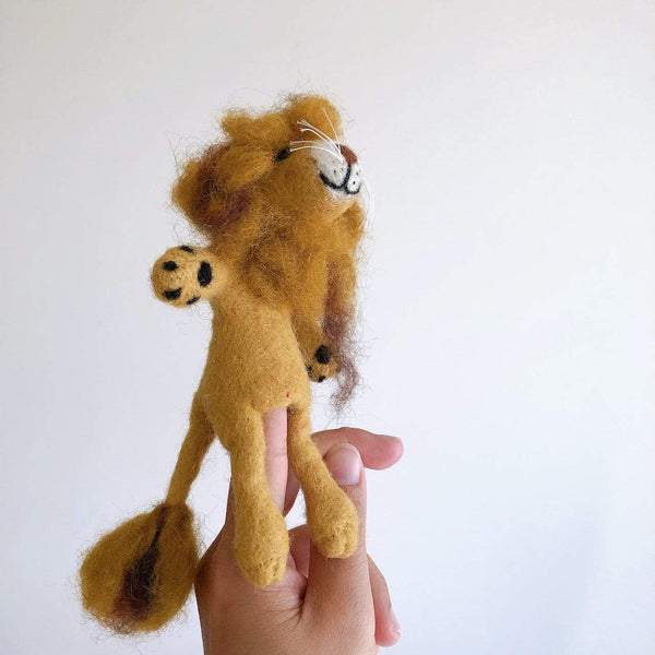 Lion wool felt finger puppet Premium Quality Unique Handmade Gifts And Accessories - Ganapati Crafts Co
