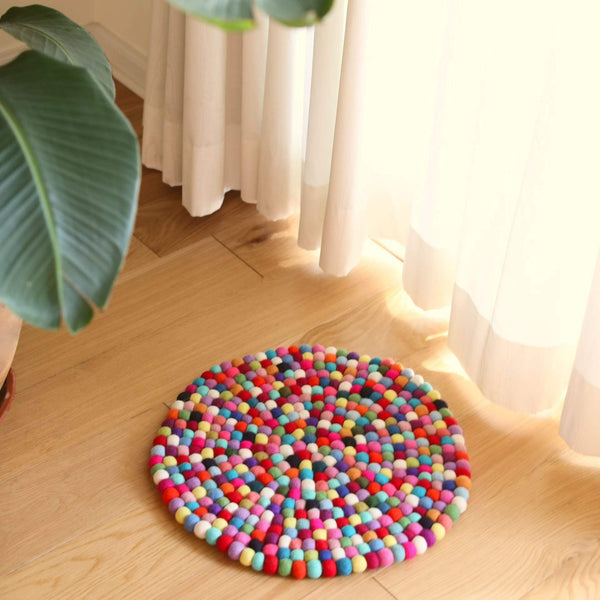 Multi-Color Felt Pom Pom Ball Rug | Sitting Pad Premium Quality Unique Handmade Gifts And Accessories - Ganapati Crafts Co