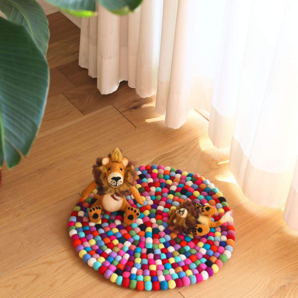 Multi-Color Felt Pom Pom Ball Rug Premium Quality Unique Handmade Gifts And Accessories - Ganapati Crafts Co