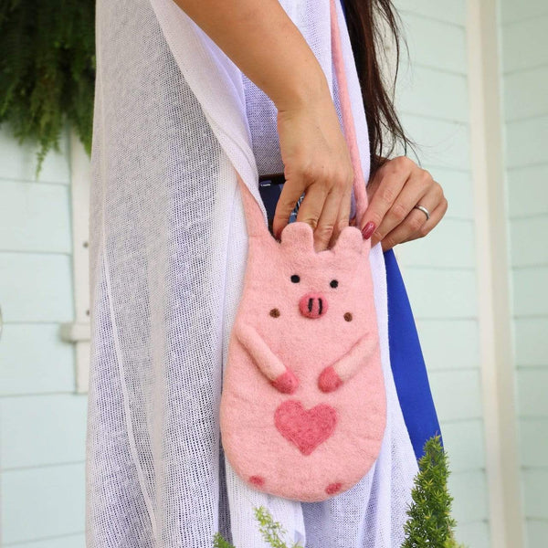 Piggie felt cell phone pouch Premium Quality Unique Handmade Gifts And Accessories - Ganapati Crafts Co