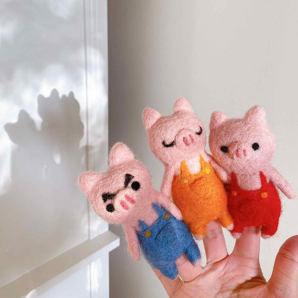 Three Little Pigs Finger Puppet Set Premium Quality Unique Handmade Gifts And Accessories - Ganapati Crafts Co