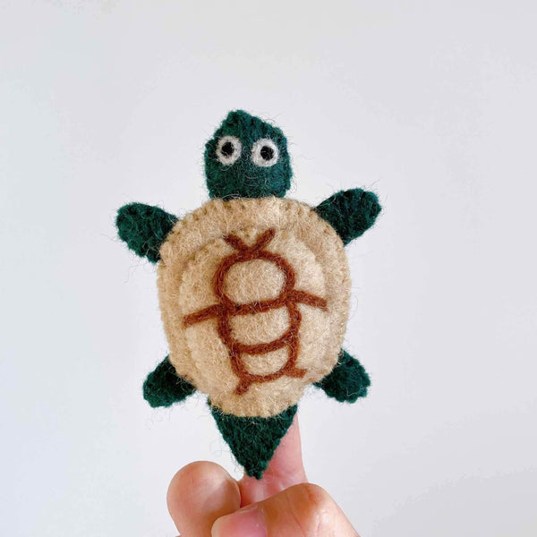 Turtle wool felt finger puppet Premium Quality Unique Handmade Gifts And Accessories - Ganapati Crafts Co