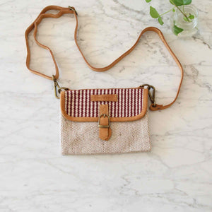 WOVEN double side crossbody bag - Plum Premium Quality Unique Handmade Gifts And Accessories - Ganapati Crafts Co