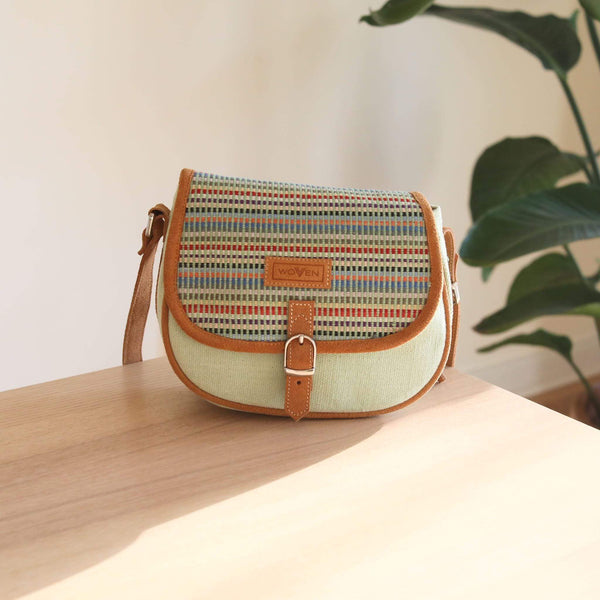 WOVEN messenger bag - Mint Green Premium Quality Unique Handmade Gifts And Accessories - Ganapati Crafts Co