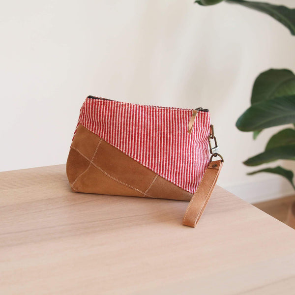 Woven Red Oblique Make-up Bag Premium Quality Unique Handmade Gifts And Accessories - Ganapati Crafts Co