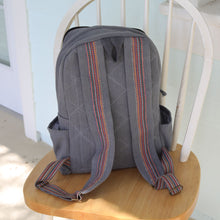 Load image into Gallery viewer, WSDO fair trade funk backpack - Gray Premium Quality Unique Handmade Gifts And Accessories - Ganapati Crafts Co