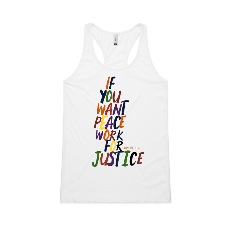 "Pope Paul VI ""Peace For Justice"" Racerback Tank - Social Justice Social Club"