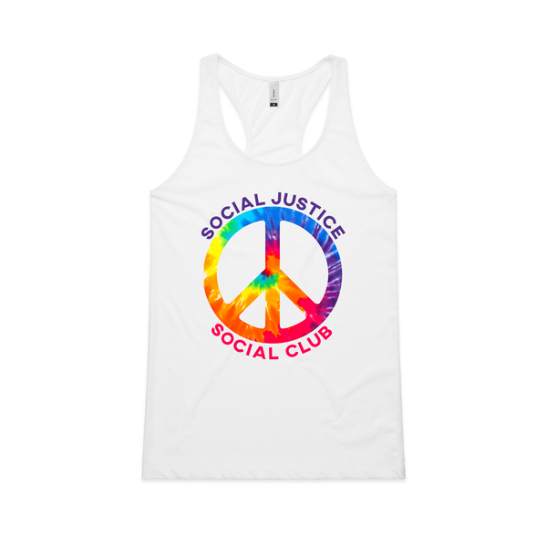 "SJSC ""PRIDE Peace Sign"" Racerback Tank Top"