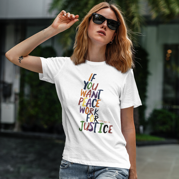 "Pope Paul VI ""Peace For Justice"" T Shirt - Social Justice Social Club"